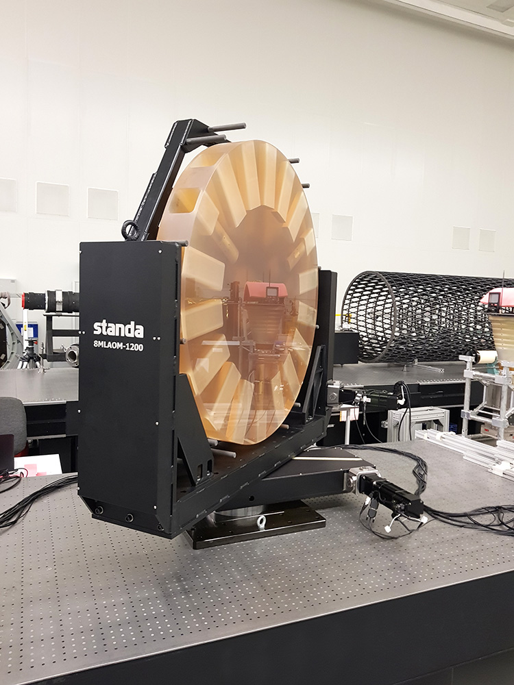 Front view of a large aperture (1200 mm) optical mirror installed in precision motorized optical mount 8LAOM-1200