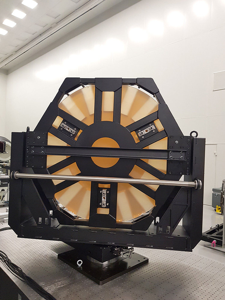 Back view of a large aperture (1200 mm) optical mirror installed in precision motorized optical mount 8LAOM-1200